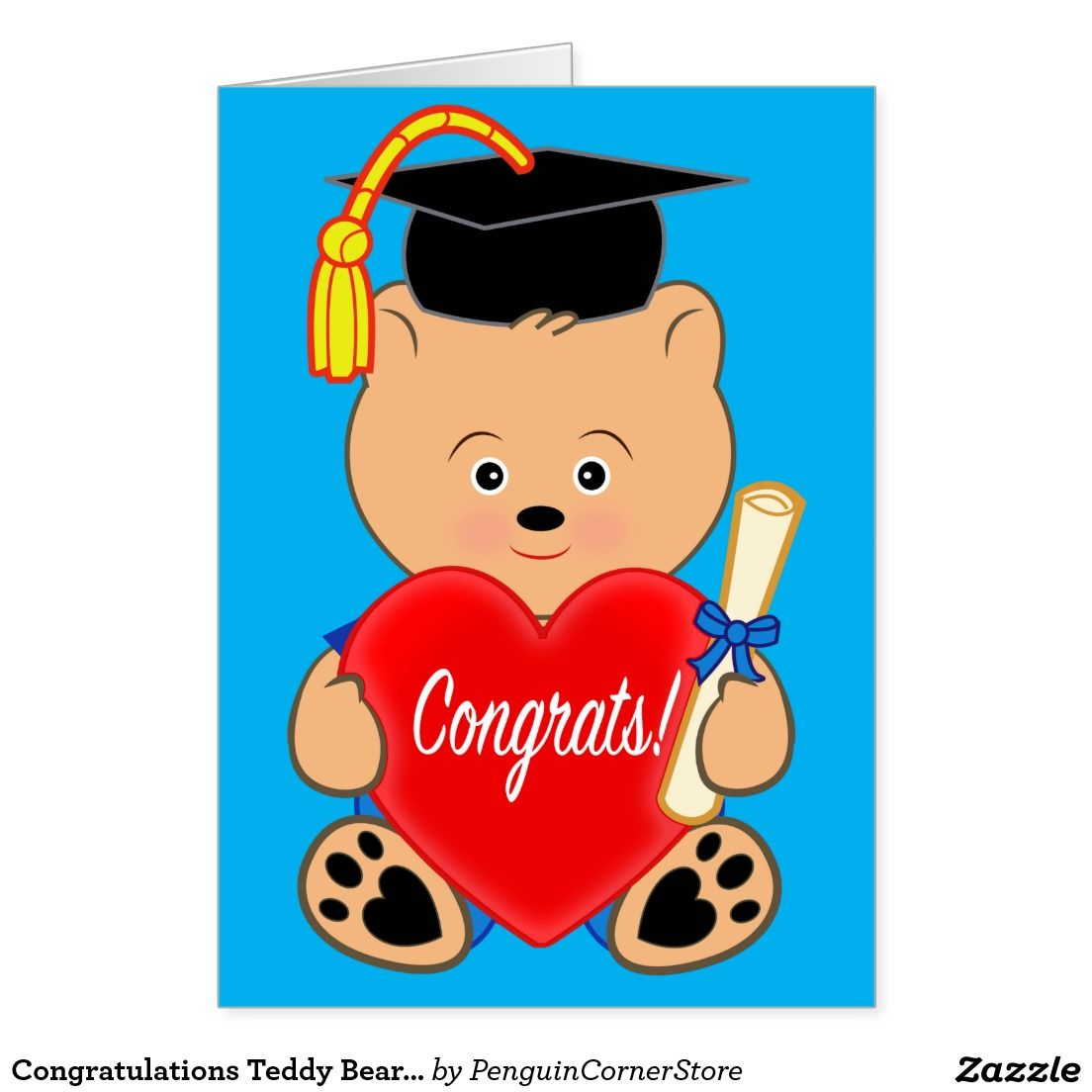 Congratulations Teddy Bear Graduation Card.