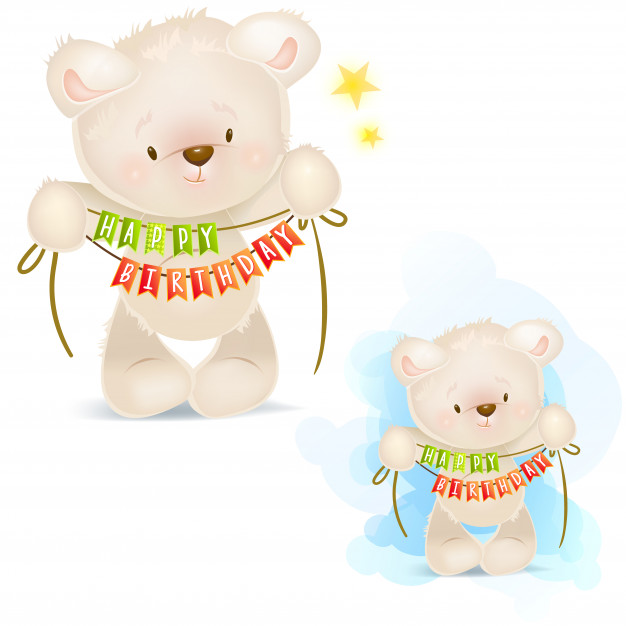 Clip art illustrations of teddy bear wishes you a happy.