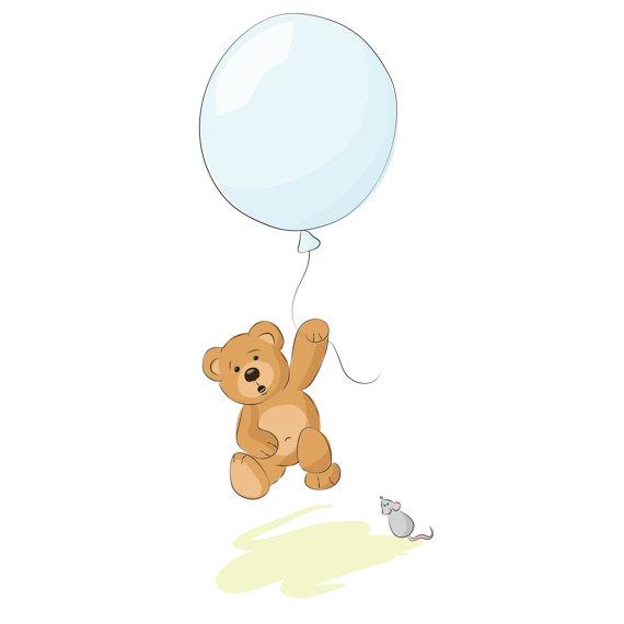 Teddy Bear Holding Balloons Clipart.