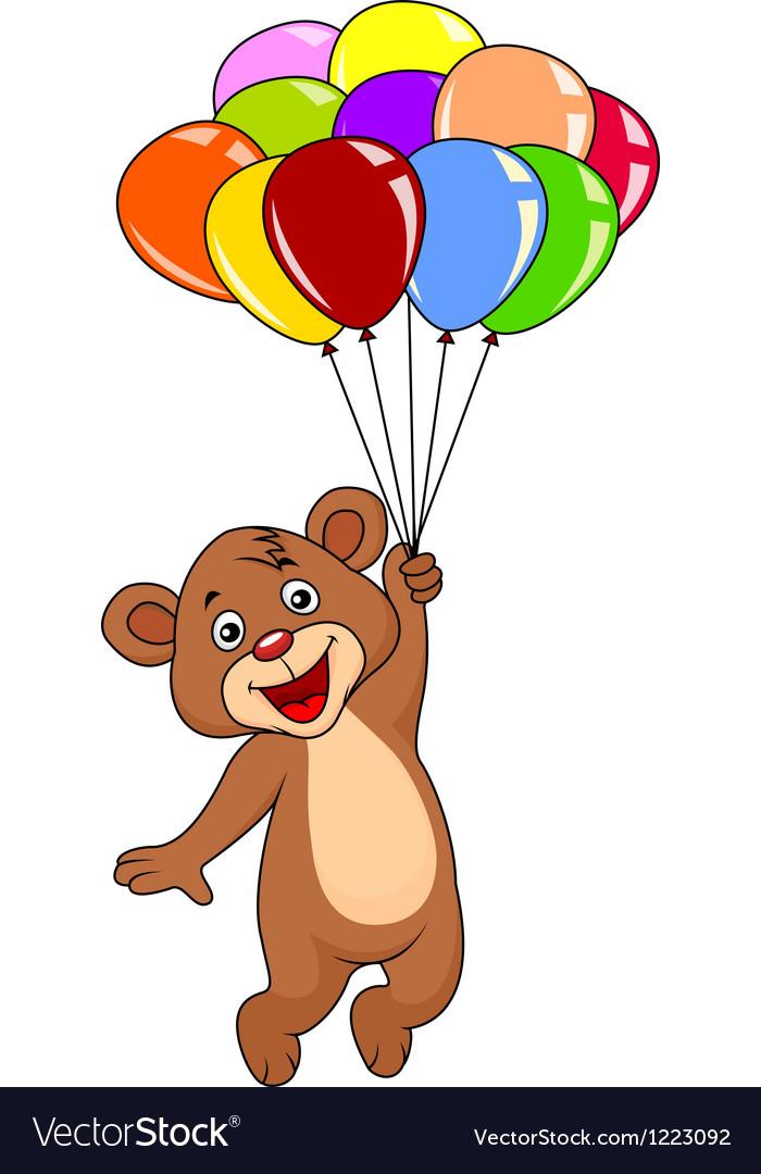 Cute teddy bear with balloons.