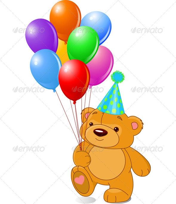 Teddy Bear Holding Balloons.