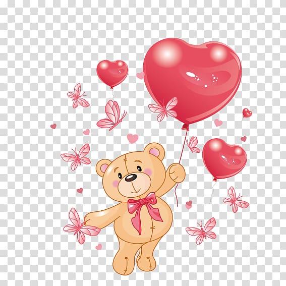 Bear holding heart balloon , Teddy bear Heart , Holding love.
