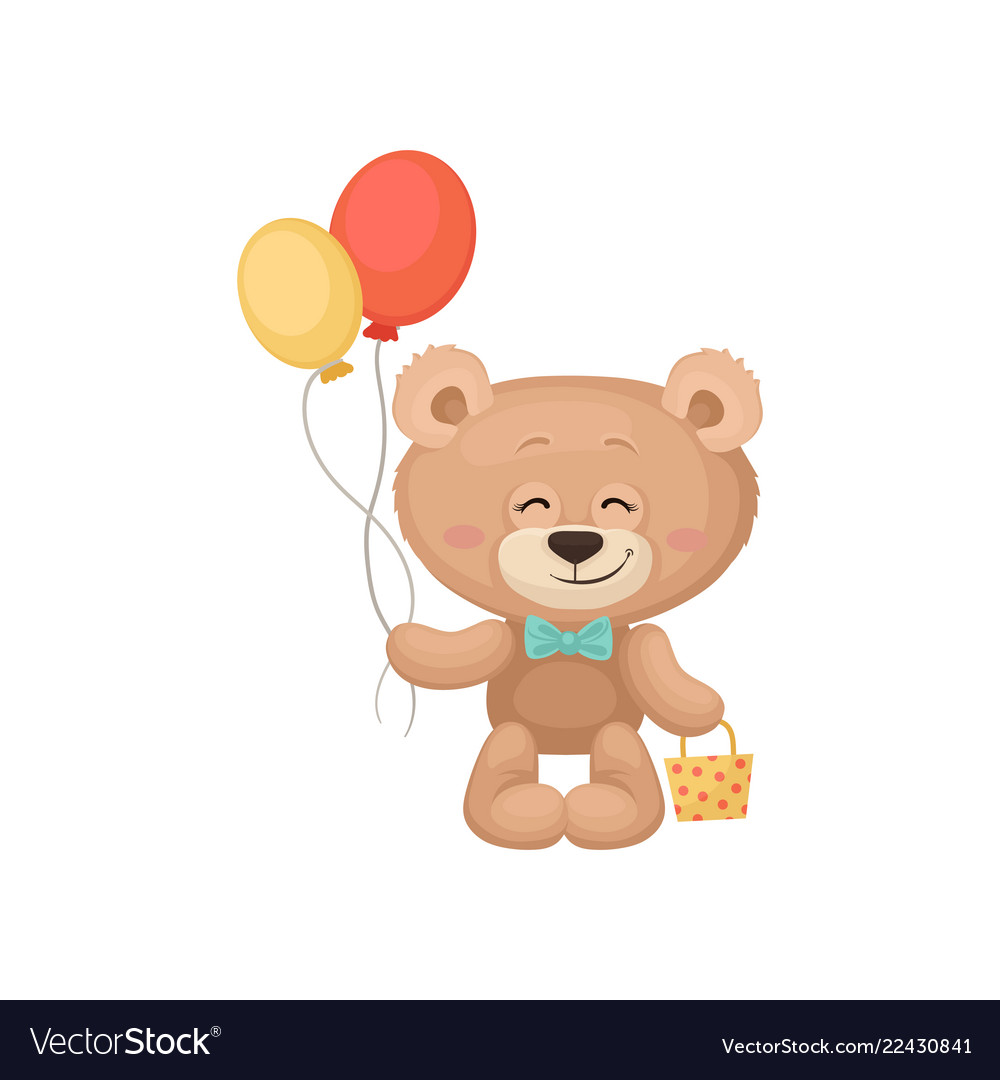 Smiling teddy bear holding balloons and little bag.