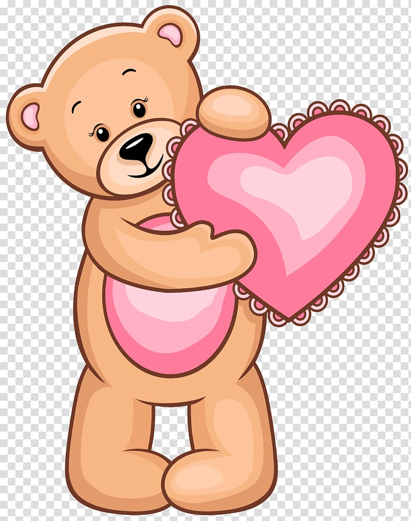 Brown bear holding heart illustration, Teddy bear Heart.