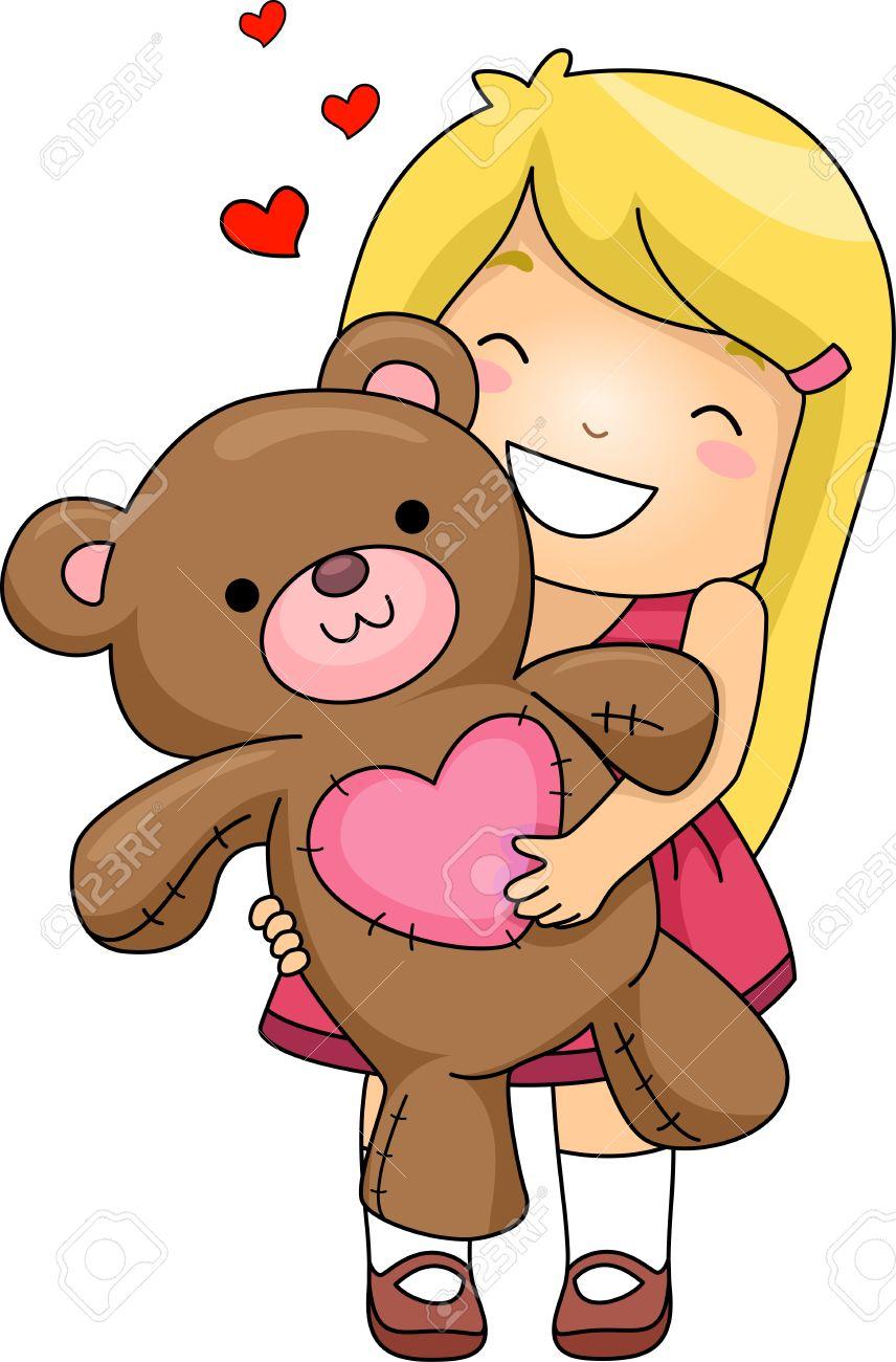 Girl Hugging Teddy Bear Clipart.