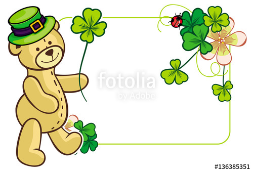 Clover frame and cute teddy bear in green hat. Vector clip.