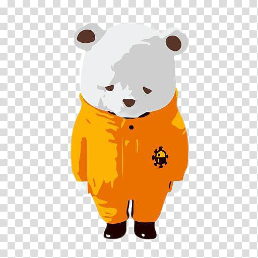 Polar bear Coat Jacket, Small polar bear wearing an orange.