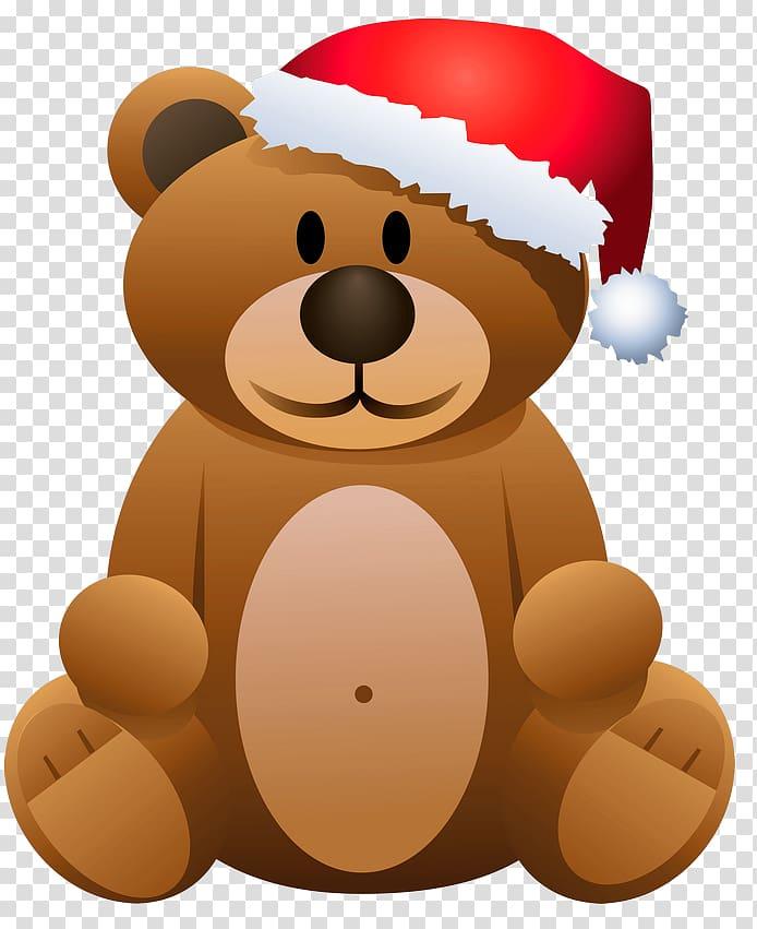 Brown bear illustration, Bear Santa Claus Christmas.