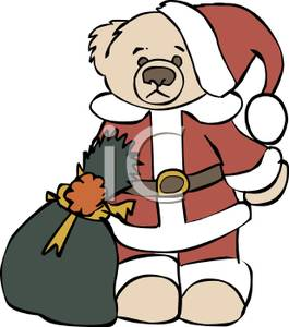 A Teddy Bear Wearing a Santa Suit, and Holding a Bag of Toys.