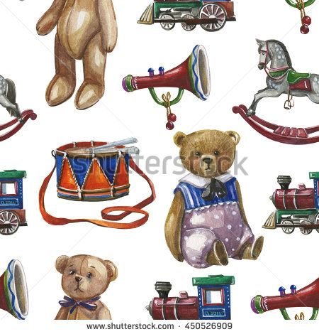 Watercolor pattern with vintage Christmas toys, teddy bear.