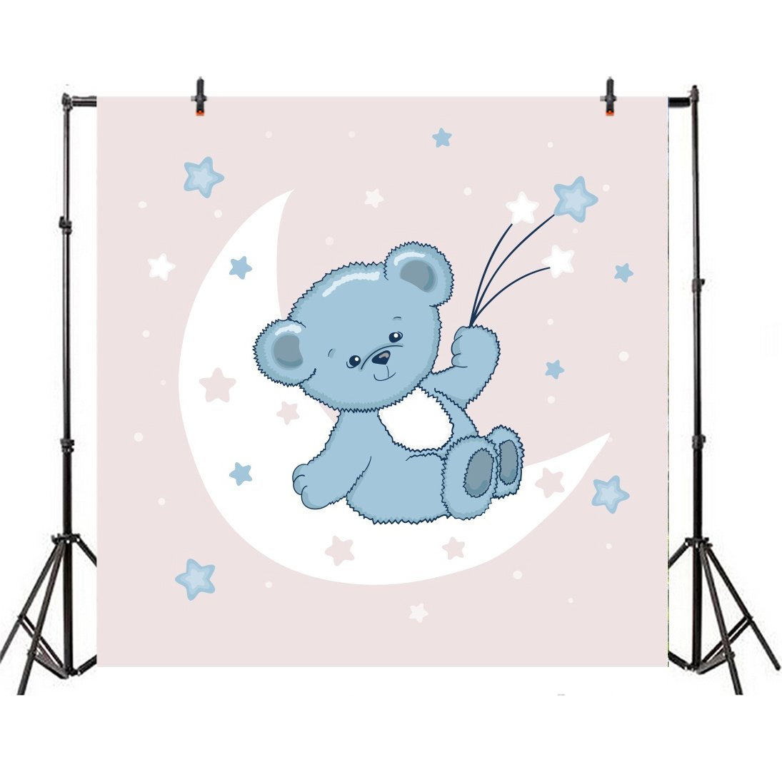 LFEEY 8x8ft Cartoon Bear Backdrop Baby Kids Sweet Party Events Decor  Babydream Photography Background Cute Stars Teddy Bear Laying on The Moon  Back.