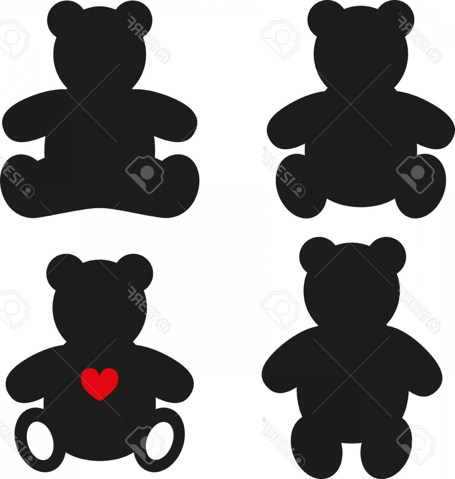 Photostock Vector Simple Silhouettes Of Teddy Bear Vector.
