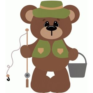 Silhouette Design Store: gone fishing bear holding pole.