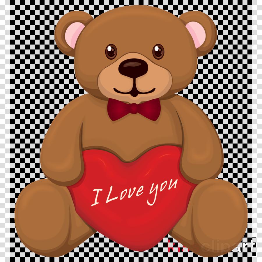 Teddy bear love valentine\'s day clipart.
