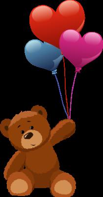 Teddy bear holding heart balloons.