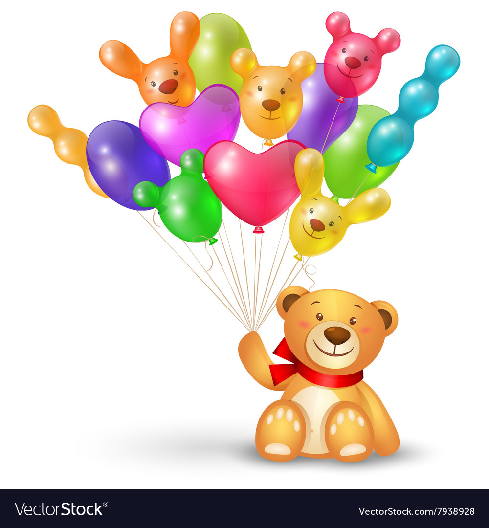 Cute teddy bear with a bunch of balloons.