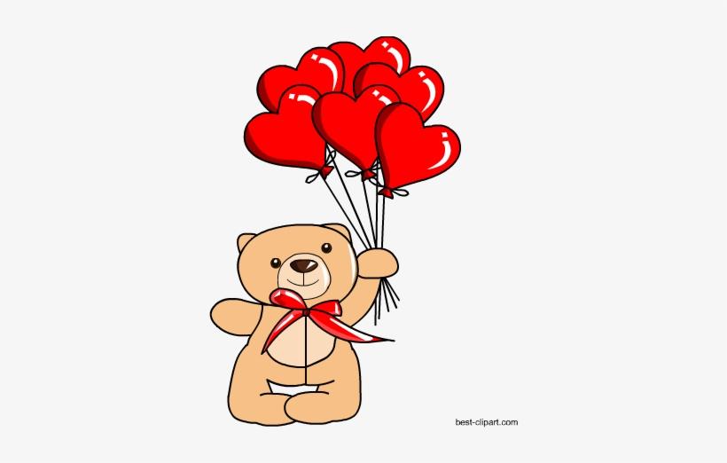 Free Teddy Bear Holding Balloons Clipart.