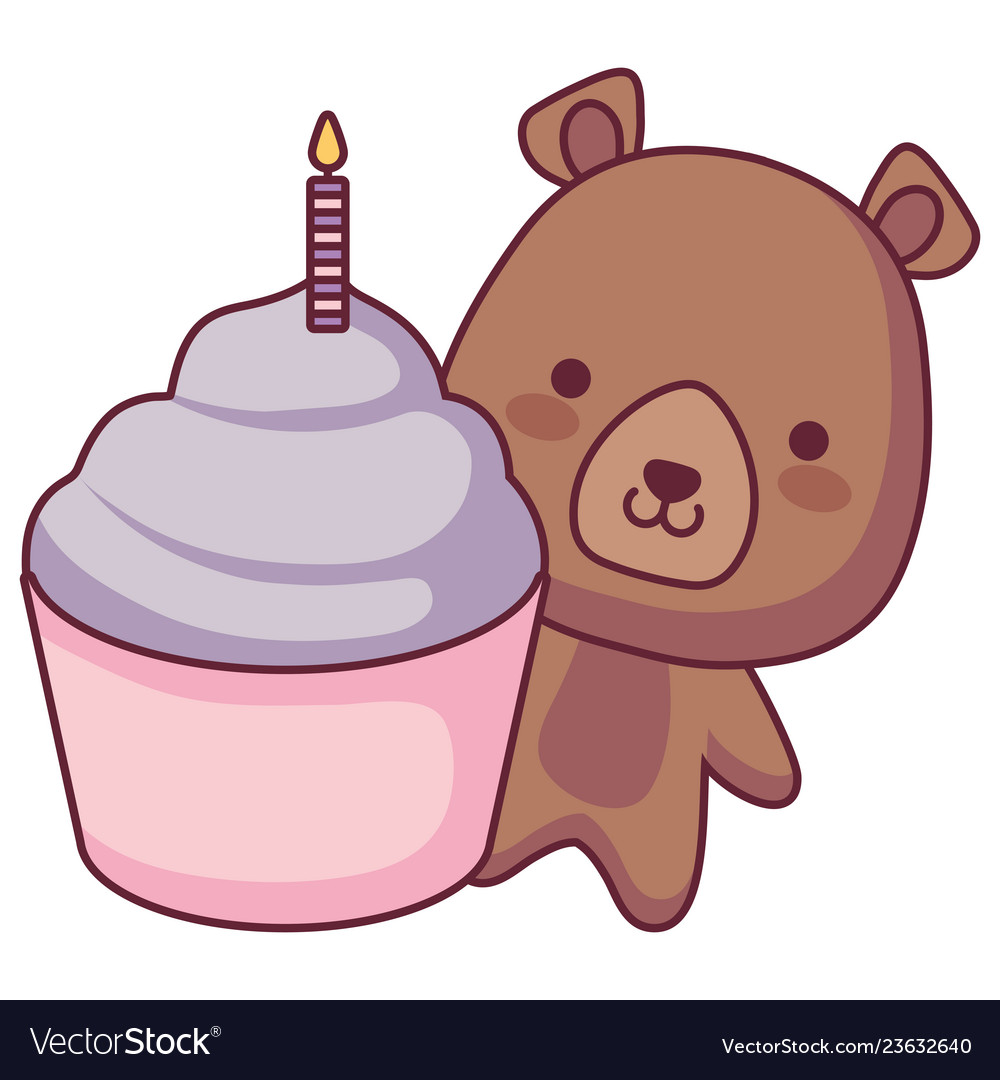 Cute and little bear with sweet cupcake.