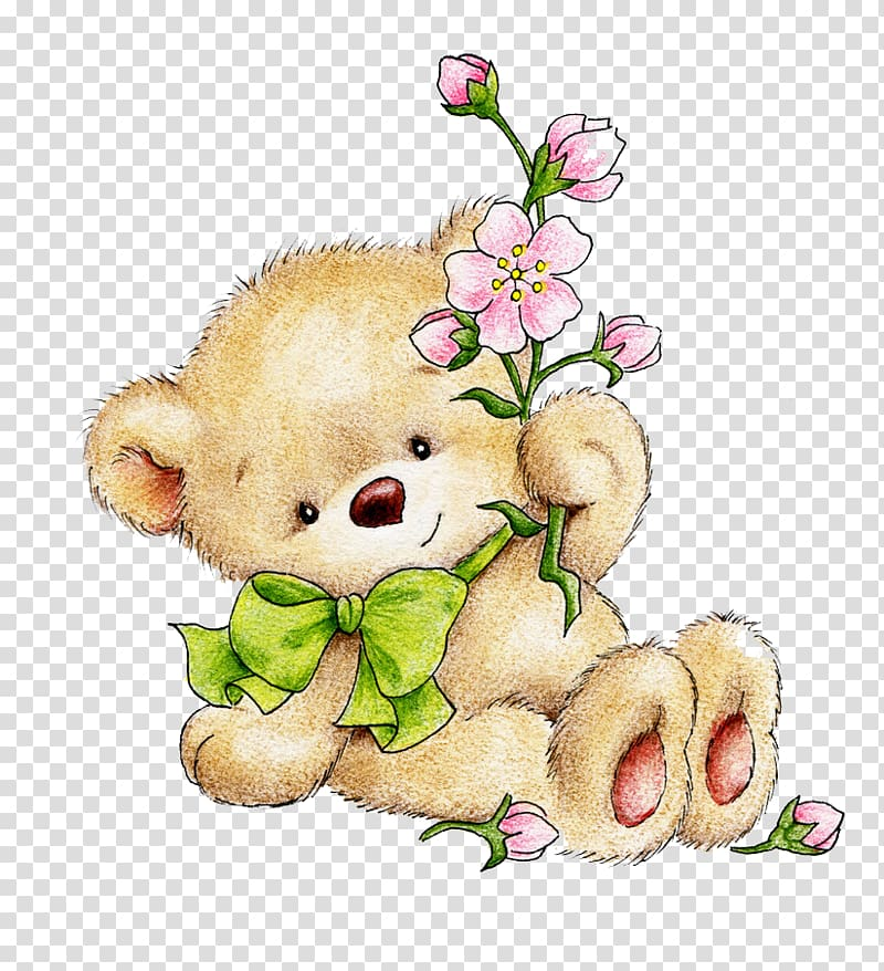 Brown bear illustration, Teddy bear Cartoon Drawing, Flowers.
