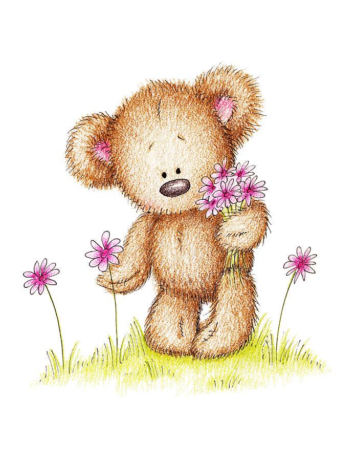 Teddy Bear With Pink Flowers by Anna Abramska.