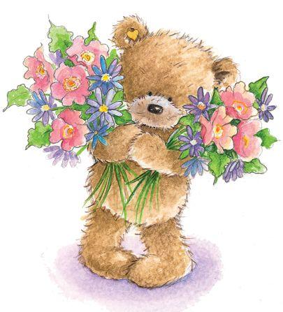 Teddy Bear With Flowers Clipart.