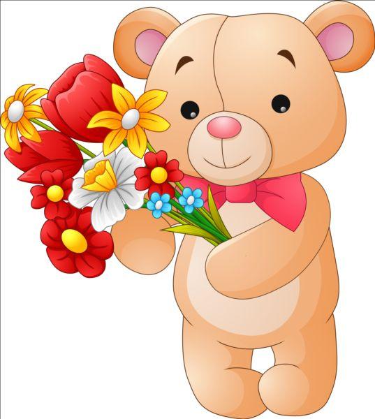 Flower with teddy bear vector.
