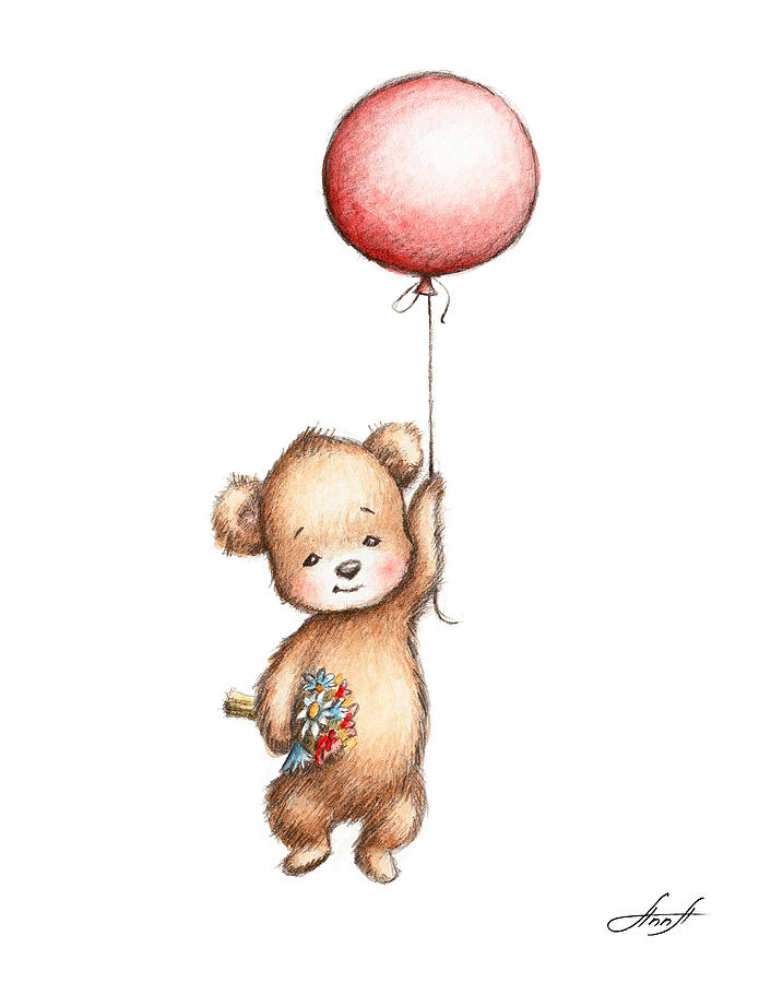 The Drawing Of Teddy Bear With Red Balloon And Flowers.