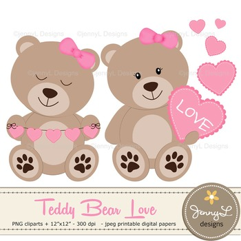 SET: Teddy Bears with Hearts Clipart, Valentine Teddy Bear.
