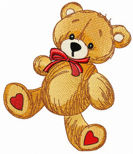 Teddy bear with hearts on heels embroidery design.