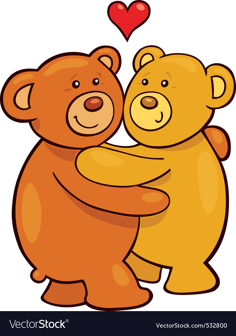 Cartoon illustration of two teddy bears in love.
