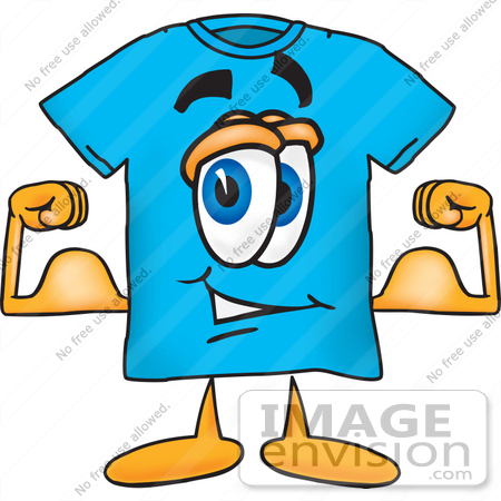 Clip Art Graphic of a Blue Short Sleeved T Shirt Character Flexing.