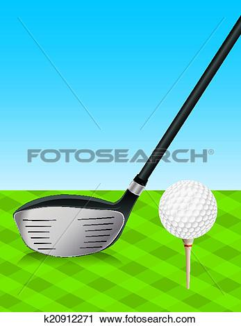 Clipart of Golf Driver and Teed Ball k20912271.