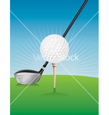 Golf ball teed and driver vector by enterlinedesign.