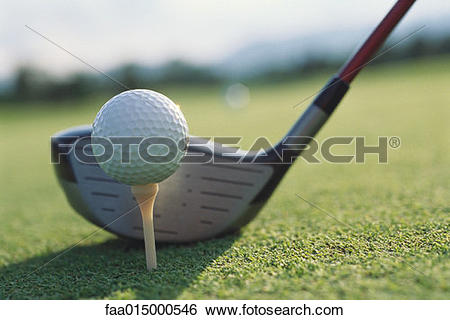 Stock Images of Golf club next to teed golf ball faa015000546.