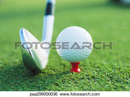 Stock Images of Golf club next to teed ball, close.