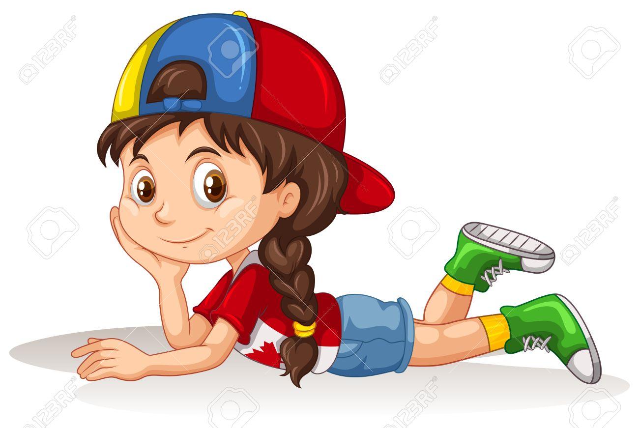 Girl Lying Down Clipart.