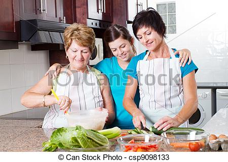 Stock Photos of teen girl watching mother and grandmother cooking.