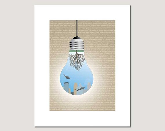 Upside Down Underwater World In A Light Bulb Poster With.