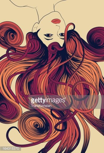 Upside down woman\'s face with long detailed flowing hair.