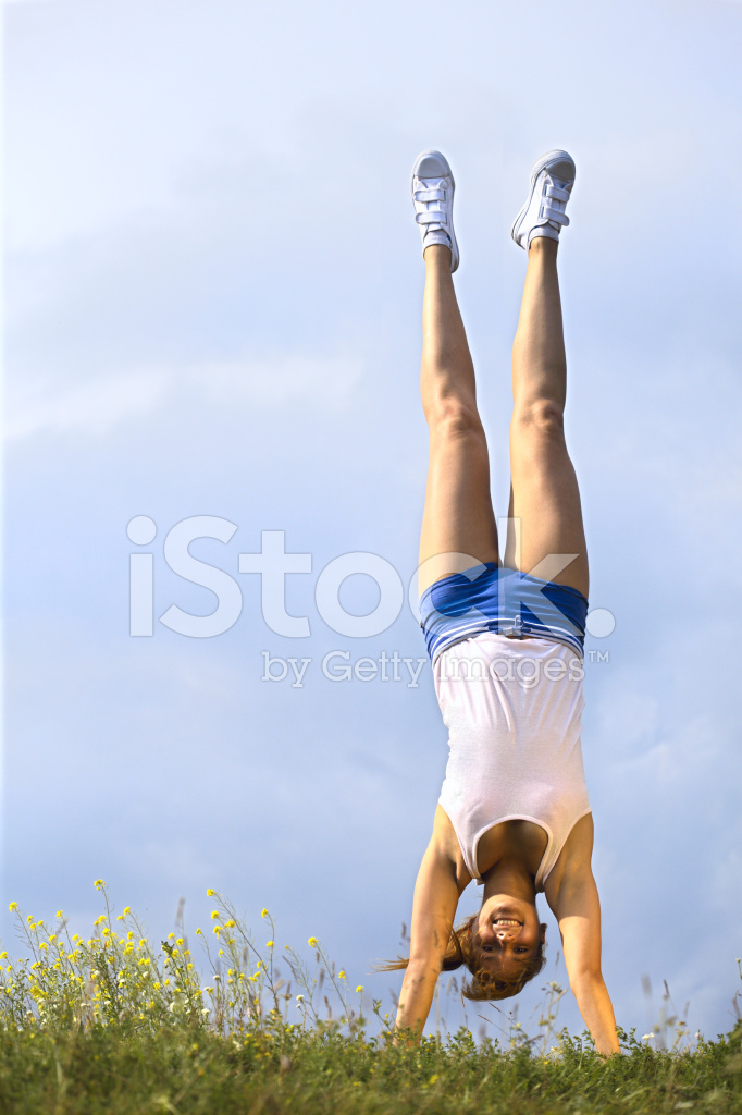 Girl Stand Upside Down Stock Photos.