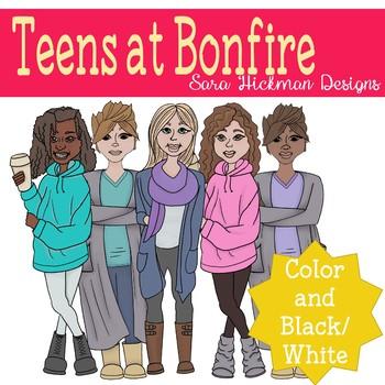 Teen Girls Clipart Set.