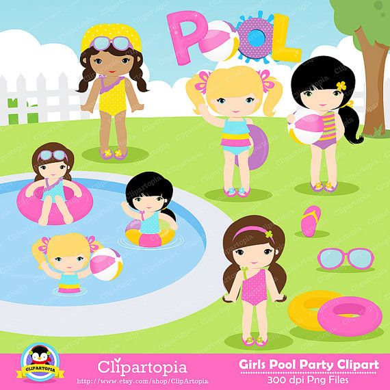 GIRLS POOL PARTY Clipart, Pool party clipart , Swim Girls.