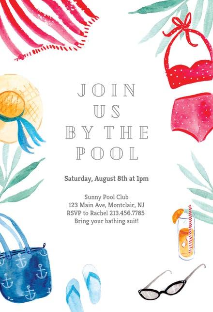 Pool Party Invitation Templates (Free).