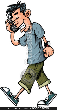 Cartoon of teen boy talking on his mobile phone stock vector.