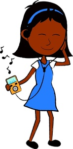 Teenage Girl Listening To Music Clipart.