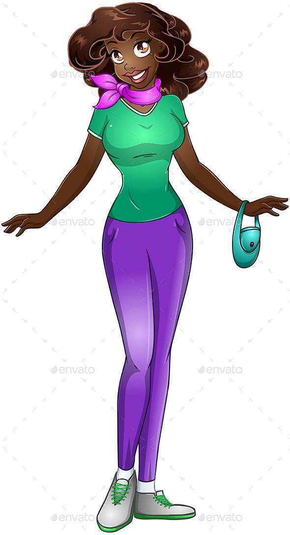 Teenage Black Girl Clipart.