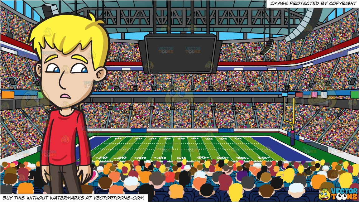 A Clueless Teenage Boy and A Football Stadium Background.