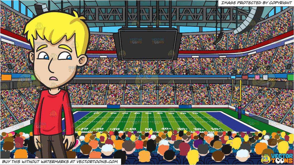 A Clueless Teenage Boy and A Football Stadium Background.