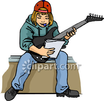 Teenage Boy Playing Electric Guitar.