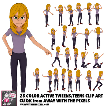 25 Youth Teen Actions Clip Art, Commercial Use OK, Teenage Secondary Clipart.
